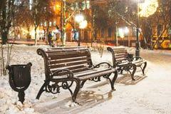 Bänke im Winterpark lizenzfreies stockbild