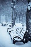 Bänke im Winterpark Lizenzfreie Stockfotografie