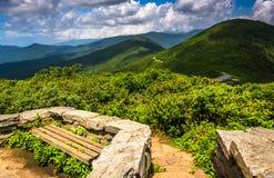 Bänke und Ansicht der Appalachians vom Craggy Berggipfel stockbilder