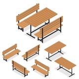 Bänke und eine Tabelle Flaches isometrisches Ein Platz für Rest vektor abbildung