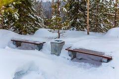 Bänke und Urne bedeckt mit Schnee auf einem Weg Stockfotografie