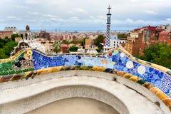 Bänken av Gaudi i Parc Guell. Barcelona. Arkivbild