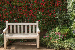 Bänken i blommaträdgården Arkivfoton