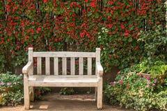 Bänken i blommaträdgården Arkivbild