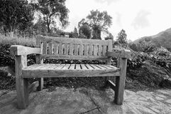 Bänken i trädgården parkerar Royaltyfri Foto