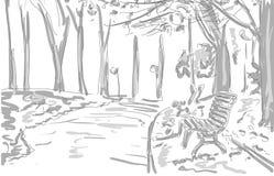 Bänken ljus, träd i parkera, drar grafisk design vektor illustrationer