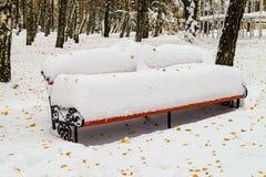 Bänken parkerar dold snö Royaltyfri Fotografi