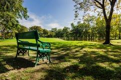 Bänken parkerar offentligt med skugga av det gröna trädet Fotografering för Bildbyråer