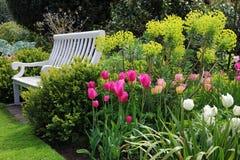 Bänkplats i en engelsk trädgård i försommar Arkivbild
