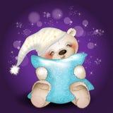 Bär, der ein Kissen umarmt Stockfoto