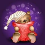 Bär, der ein Kissen umarmt Lizenzfreies Stockbild