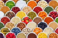 Bär för bakgrund för frukt- och grönsakkryddaingredienser från arkivfoto