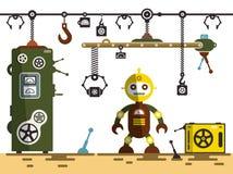 bär för maskineristycken för den olika fabriken den industriella inre plattformen till använt trans Robot med maskiner vektor illustrationer