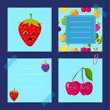 Bär frukt det plana gulliga hallonet för vektorn, körsbäret, björnbär med framsidamalluppsättningen Arkivbilder