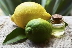 Bär frukt nödvändig olja för citronen i en glasflaska med den ny citronen och limefrukt Spa, aromatherapy- och bodycarebegrepp royaltyfri foto