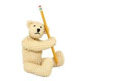 Bär mit Bleistift Lizenzfreies Stockbild