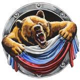 Bär mit der russischen Flagge Stockfoto