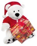 Bär mit Weihnachtshut Stockfoto