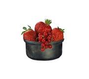 Bär och jordgubbar för röd vinbär i en metallisk form på en vit bakgrund som isoleras Royaltyfri Fotografi