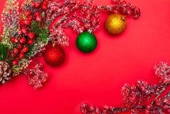 Bär på en filial och julbollar royaltyfri foto