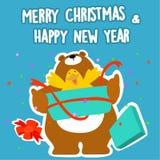 Bär und frohe Weihnachten und guten Rutsch ins Neue Jahr der Ente Stockbild