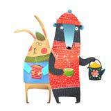 Bär und Kaninchen mit Tee-Schale Stockfotos