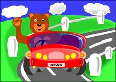Bär und rotes Auto Stockfoto