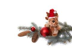 Bär und Weihnachtsdekorationen #3. Lizenzfreie Stockbilder