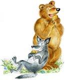 Bär und Wolf essen Plätzchen Lizenzfreies Stockbild