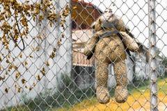 Bär wurde an Metallzaun gehangen Stockfoto