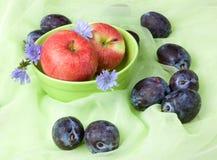 Bära fruktt stilleben med chicoryen, äpplen, plommoner Arkivbilder