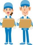Bärande arbetekläder för manlig personal och för kvinnlig personal royaltyfri illustrationer