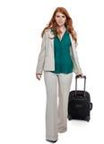 Bärande bagage för affärskvinna Fotografering för Bildbyråer