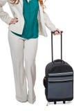 Bärande bagage för affärskvinna Arkivfoton