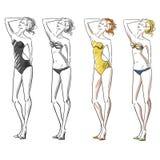 Bärande bikini för attraktiv flicka, modeillustration Royaltyfri Bild