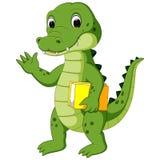 Bärande bok för gullig krokodil stock illustrationer