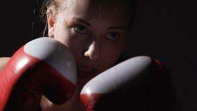 Bärande boxninghandskar för arbetsam kvinnlig boxare, luft som stansar i idrottshallen som utbildar arkivfilmer