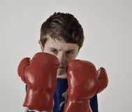 Bärande boxninghandskar för stark pojke Arkivfoton