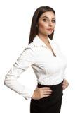 Bärande dräkt för attraktiv slank modell royaltyfri foto