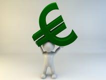 bärande euro för man 3D Royaltyfri Fotografi