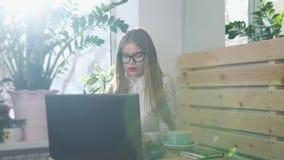 Bärande exponeringsglas för en ung allvarlig affärsdam som skriver emailen på en bärbar dator lager videofilmer