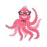 Bärande exponeringsglas för smart rosa bläckfisktecken för tecknad film och fluga, rolig illustration för vektor för havkorallrev Royaltyfria Bilder