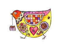 Bärande gåva för gullig folk fågel stock illustrationer