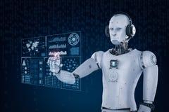 Bärande hörlurar med mikrofon och arbete för robot med faktisk skärm stock illustrationer