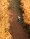 Bärande hatt för ung kvinna som går på grusvägen i fält för torkat gräs arkivbild