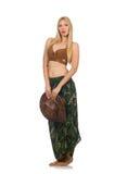 Bärande isolerad cowboyhatt för kvinna Arkivfoto