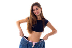 Bärande jeans för kvinna av mycket större format arkivbilder