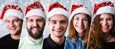 Bärande jultomtenhatt för folk Royaltyfria Bilder
