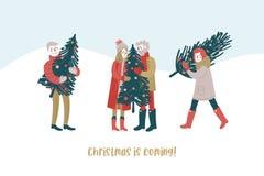 Bärande julträd för folk lyckligt folk Förbereda sig för ferier letters amerikansk för färgexplosionen för kortet 3d ferie för hä royaltyfri illustrationer