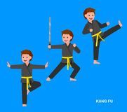 Bärande kimono för tecknad filmunge, kampsport Royaltyfri Foto
